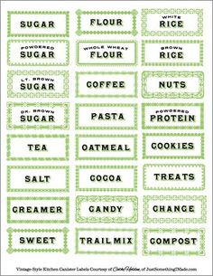 Vintage Labels for Kitchen