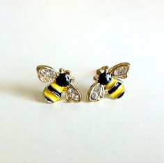 Tiny Bee Earrings by EridaneasBoutique on Etsy
