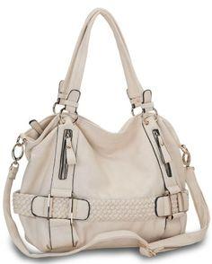 Cream Weave Pattern Belt Accent Double Handle Top Closure Soft Hobo Bowler Satchel Office Tote Shoulder Bag Handbag Purse
