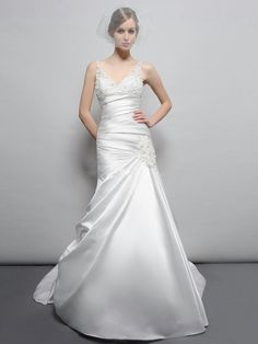 Fascinating V-neck Spaghetti Straps Embroidered Bodice Ruffled Satin Skirt A-line Wedding Dress with Semi-cathedral Train