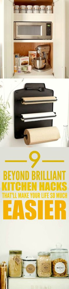 These 9 organization hacks and tips are THE BEST! I'm so happy I found this AWESOME post! Now I have some awesome ideas on how to organize and make my kitchen look good! Definitely pinning for later!