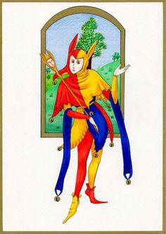 Medieval Court Jester Jester Hat, Court Jester, Joker Playing Card, Playing Cards, Medieval Jester, Pierrot, Photo Reference, Illuminated Manuscript, Ballet