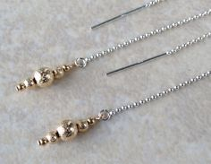 Silver and Gold Threader Earrings, Sterling Silver Ear Threads with 14k Gold Filled Beads, Silver and Gold Threader Earrings by AustinDowntoEarth on Etsy