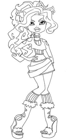 Geeezzz what is up with all these scary faces on these kids coloring pages? Clawdeen Wolf Coloring Page