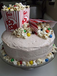 Cool cake Idea, love the popcorn being incorporated!