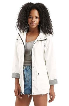 Topshop Gingham Trim Rain Jacket available at #Nordstrom