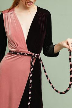 Slide View: 3: Colorblock Velvet Wrap Maxi Dress