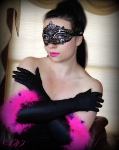 Fun and Playful Stretchy Black Lycra Gloves Trimmed With Feathers! Created by me for you! ;)
