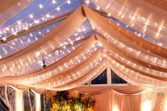 Fabric swags twinkle lights clear top tent