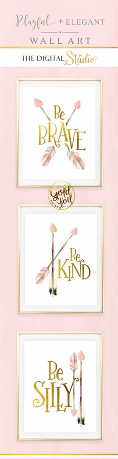 Baby Girl Nursery Wall Decor. Set of 3 Pink and Gold Wall Art. Little Girl Woodland Nursery Decor.