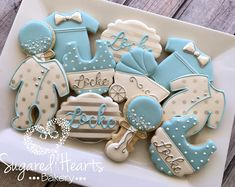 Baby Boy Blue and Silver Baby Shower Cookies - 1 Dozen