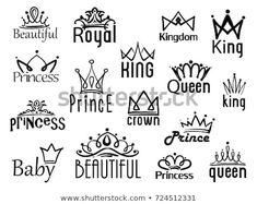 Vector crown logo. Hand drawn sketch and signs collections. Black brush line isolated on white background