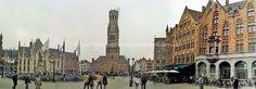 Brujas-Brugge: Grote Markt de Brujas, de izda a dcha el Historium, el Landhuis, la of. Correos y el Belfort