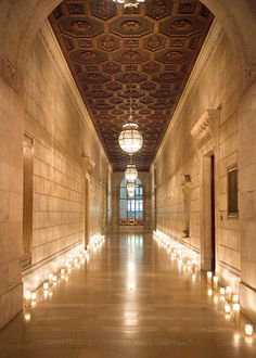New York Public Library Wedding, Candle-Lit Hallway | Brides.com