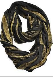 Black and Gold Knit Eternity Scarf with a black sweater is perfect for the bowl game!