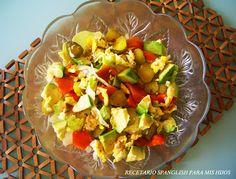Recetario Spanglish para mis hijos. Avocado and persimmons salad