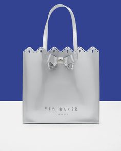 68b5f2d425f354 Scalloped edge shopper bag - Silver Colour