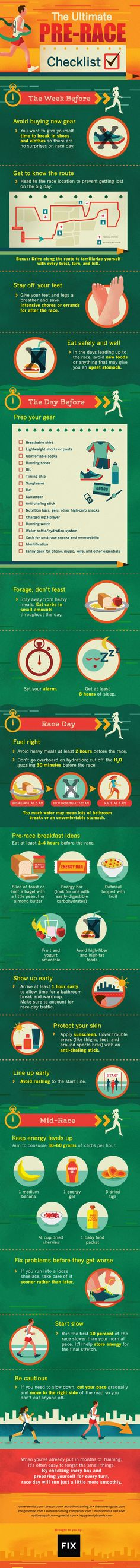Half marathon training The Ultimate Pre-Race Checklist Infographic Marathon Tips, Half Marathon Training, Marathon Running, Disney Marathon, Marathon Motivation, Running Motivation, Health Motivation, Keep Running, Running Tips