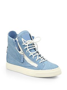 Giuseppe Zanotti Snake-Embossed Leather High-Top Sneakers Look Com Tenis  Branco, Tênis 7fb8cd1364