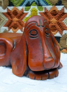 1970s Wooden Carved Basset Hound Dog Figure Statue by Up4Grabs, $18.00