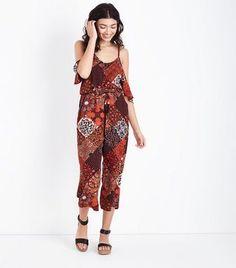 203e30a002a7 Red Border Print Culotte Jumpsuit