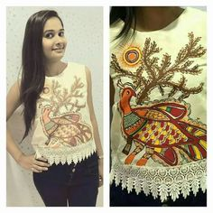 Traditional mithila painting# crop top