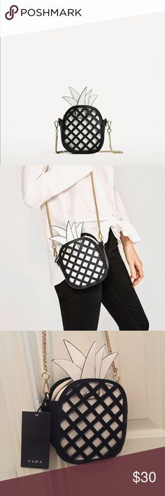 Zara | Black and White Pineapple Bag Zara black and white pineapple bag. New with tags never worn! Zara Bags