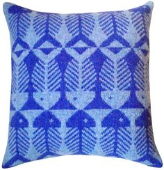 Image of Herringbone Knit Pillow - Blue Heather on Periwinkle