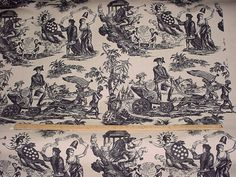 1-1/2 yards Beautiful F Schumacher / Lee Behren 2620690 American Independence - Black Luxury Toile Linen Upholstery Fabric - Free Shipping
