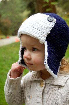 PDF Crochet Pattern - Crochet Aviator Hat 6M to Adult. $4.99, via Etsy.