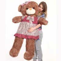 "HDYCBlansdi-55""-Giant Huggable and Adorable Smile with wearing pink hat and skirt Soft stuffed Plush Teddy Bear Light brown"