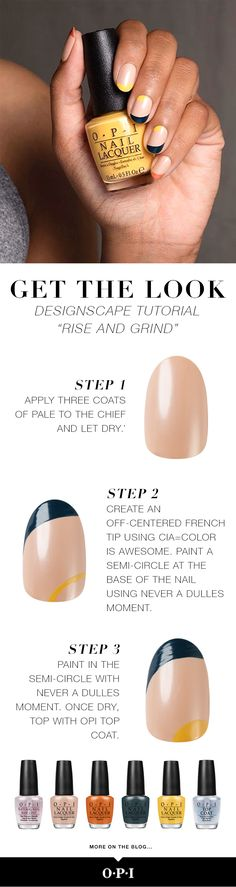 Start your day off right with this off center and inverted french manicure. See the full Washington D.C. inspired Designscape tutorial on the OPI blog.