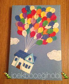 Up-Yukarıya bak Felt Crafts, Diy And Crafts, Paper Crafts, Moleskine, Diary Decoration, Magic For Kids, Felt Cover, Diy Bookmarks, Baby Room Art