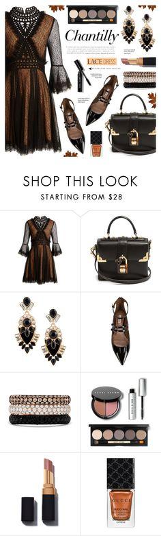 """Chantilly-lace dress"" by anyasdesigns ❤ liked on Polyvore featuring Jonathan Simkhai, Dolce&Gabbana, GUESS, Tabitha Simmons, Effy Jewelry, Bobbi Brown Cosmetics and Gucci"