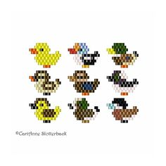 Mini Ducks 1-9 brick stitch pattern pack for charms, earrings, pendants, pins