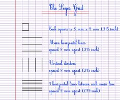Explanations of the Seyes Grid also called french ruled paper