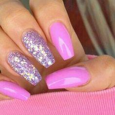 Pink purple glitter nails