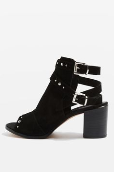 Double Buckled Studded Peeptoe Block Heel Boots from Topshop R1120,00