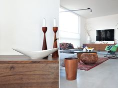 Mid century candlesticks, living room