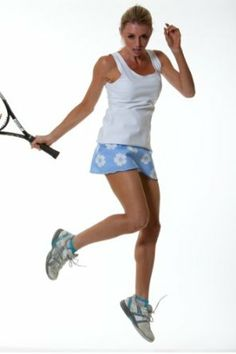 Country Club Collection: Love Tennis Dress: High Performance Solid White with Blue Flower ruffle. Show No Love Tenniswear. $76.00