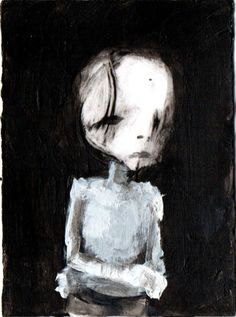 """GHOST""     Acrylic original  ,ACEO  jack larson 3.5""x2.5"" #Abstract"