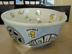movie reel popcorn bowl class prints auction piece by Pottery Piazza.