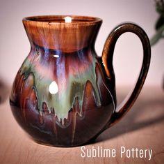 Mug by Amanda Joy Wells of Sublime Pottery Thrown Pottery, Kettles, Wine Bottles, Mug Cup, Pottery Ideas, Ceramic Pottery, Sculpture Art, Bowls, Glaze