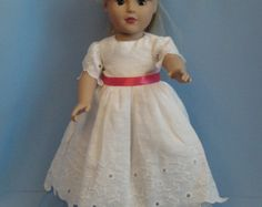 American Girl Doll Clothes, 18 inch doll clothes, White Embroidered linen party dress