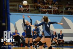 Sept 2012:  Lady Buc Whittney Walton sets it up for teammate Kirby Kincannon during Tuesday night's game.