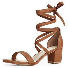 af020dde33 Allegra K Women's Open Toe Lace up Mid Chunky Heeled Sandals (Size US 9)
