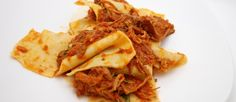 Taccozzette Con Stracotto (Pasta with Braised Pork Ragu) Recipe - ZipList Ragu Recipe, Recipe Pasta, Braised Pork Shoulder, Pork Ragu, Shredded Pork, Along The Way, The Fresh, Italian Recipes, Snack Recipes