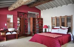 red and grey bedroom
