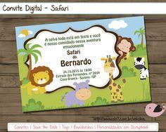 Arte Digital - Convite Safari #diy #festainfantil #festasafari #safari…