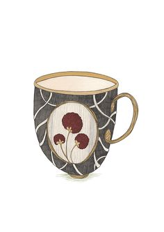 Cup #illustration #artist #flower #flowers #black #red #berry #artnouveau #draw #drawing #print #creative #cup #coffee #te Art Nouveau, Berry, Mugs, Coffee, Drawings, Illustration, Creative, Artwork, Artist
